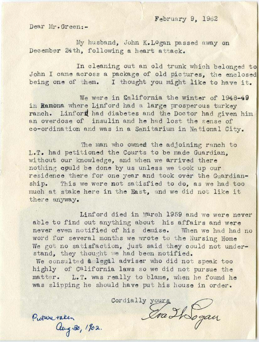 Linford Logan Letter